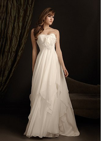 Buy discount Flowing Chiffon A-line Strapless Neckline Wedding Dress With Handmade Flowers,Feathers and Tiny Buttons at dressilyme.com