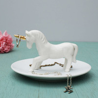 Porcelain Unicorn Jewellery Dish