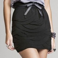 LAYERED SCALLOP MESH SKIRT at Express