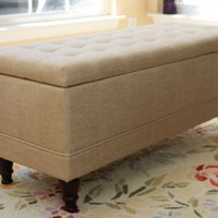 Lift Top Storage Bench with Tufted Accents Beige Fabric