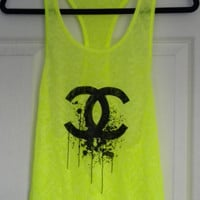 Chanel Splatter Logo Womens Burnout Tank