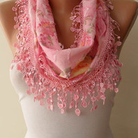 Pink Scarf with Pink Trim Edge Flowered Fabric by SwedishShop