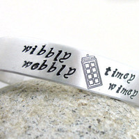 Wibbly Wobbly Timey Wimey Hand Stamped Bracelet with Tardis | foxwise