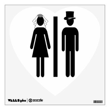 Wedding Restroom Sign Wall Decal