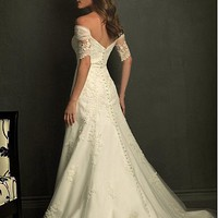 Buy discount Elegant Tulle&amp;Satin A-Line Off-the-shoulder Wedding Dress With Appliques and Beadings at dressilyme.com