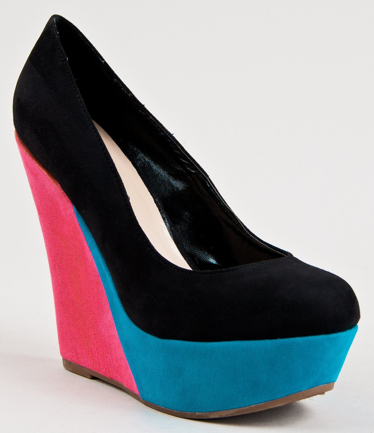 Breckelle's CILO-08 Colorblock Slip On Wedge Heel