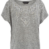 Grey aztec square cut tee - Jersey Tops - Clothing - Dorothy Perkins