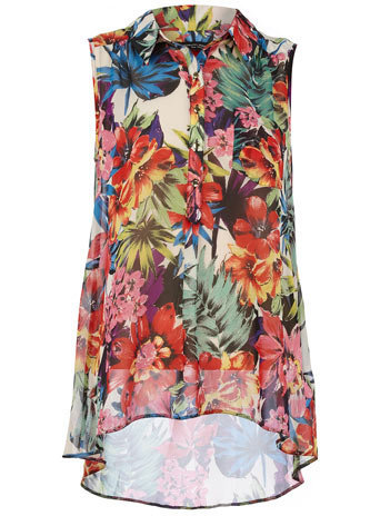 Multicolured tropical dip hem shirt - View All Top Rated - Top Rated - Dorothy Perkins