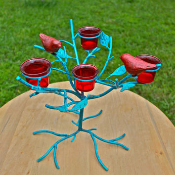 """Whimsical """"BIRDS in a TREE"""" Candelabra by AquaXpressions"""
