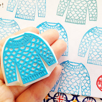 knitted sweater rubber stamp. hand carved rubber stamp. hand carved stamp. knitting stamp. packaging stamp for knitters/makers. diy projects