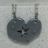Puzzle Heart Puzzle Necklaces set of 2 Friendship Necklaces Polymer clay Set 15