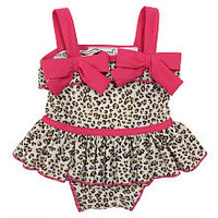Babyrageous Girls Leopard Print 1-Piece Swimsuit