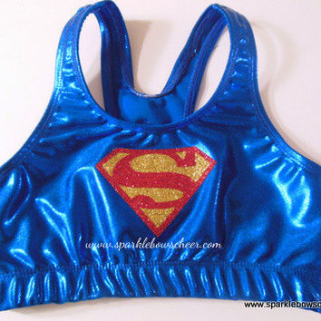 Superman Metallic Sports Bra Cheerleading, Yoga, Running, Working Out