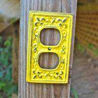 "Yellow Decorative ""FLEUR DE LIS"" Outlet Cover by AquaXpressions"
