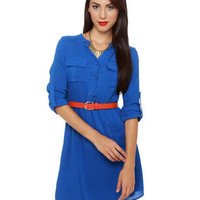 Essential Blue Dress - Shirt Dress - Button-Up Dress - $36.00