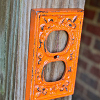 "Orange Decorative ""FLEUR DE LIS"" Outlet Cover by AquaXpressions"