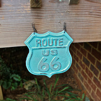 "Aqua Blue ""Route 66"" Cast Iron Hanging Sign by AquaXpressions"