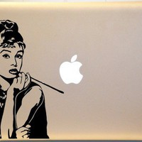 Audrey Hepburn Macbook Laptop Vinyl Decal Sticker iPad Macbook Pro | MakeItMineDesigns - Techcraft on ArtFire