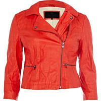 red pu biker jacket - leather / non-leather jackets - coats / jackets - women - River Island