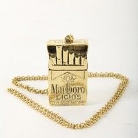 Marlboro LIGHTS Fine Brass Necklace | Indie Clothes & Accessories