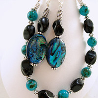 Paua shell and glass bracelet and earring by PCharmingThings