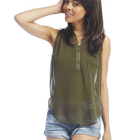 Chiffon Sleeveless Popover Top | Wet Seal