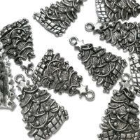 Christmas Tree Charm, Holiday Findings, Antique Silver Jewelry, Wholesale supply, DIY craft - Proceeds to Charity