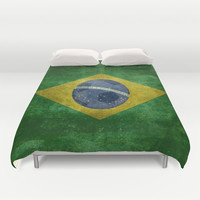 Vintage Brazilian National flag featuring a football ( soccer ball ) Duvet Cover by LonestarDesigns2020 - Flags Designs +