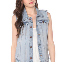 The Cut Off Denim Vest in White Teeth