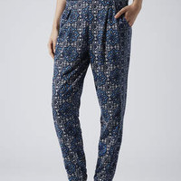 MIX TILE PRINT JERSEY TAPERED TROUSERS