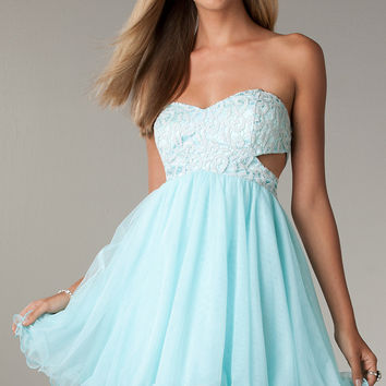 Short Strapless Prom Dress with Cut Out Sides by LA Glo