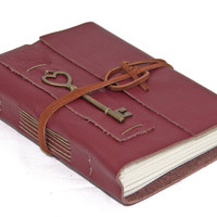 Burgundy Leather Wrap Journal with Lined Paper and a Heart Key Bookmark