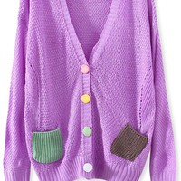 Preppy Colorblocked-Pockets Cardigans
