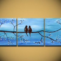 Love Birds HUGE 36 x 12 Acrylic painting canvas gallery Original great wedding gift