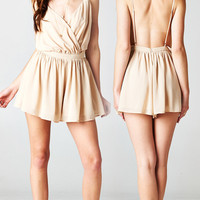 BACKLESS BEIGE CHIFFON ROMPER | PUBLIK | Women's Clothing & Accessories