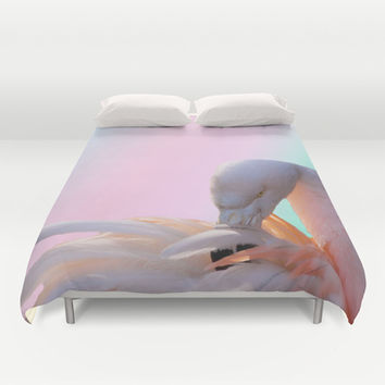 Cute pink flamingo Duvet Cover by Erika Kaisersot
