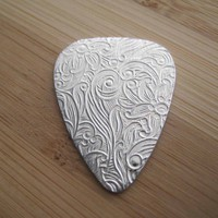 Pick Me a Flower Silver Customizable Guitar by Marleyjanedotcom