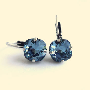 NEW Swarovski 10mm golf size crystal lever-back earrings - denim  blue  designer inspired crystal earrings by Siggy