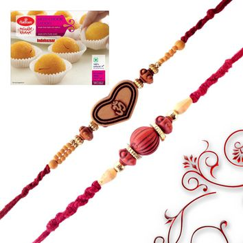 Rudraksh and Aum Rakhi with Sweet - Send Rakhi to Australia - Rakhi Gifts - IndianTyohar