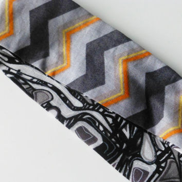 Gray Chevron Headband - Chevron Fabric Headband - Black Fabric Headband - Reversible Headband - Funky Print Headband - Women's Headband
