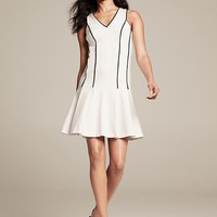 BR Monogram Piped Ponte Fit-and-Flare Dress