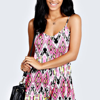 Cora Neon Ikat Print Swing Playsuit