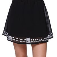 LA Hearts Embroidered Hem Skater Skirt at PacSun.com