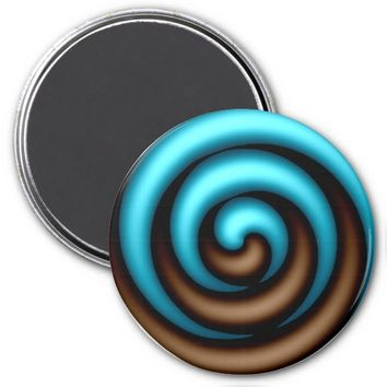 Spinning Blue-Chocolate Brown Refrigerator Magnet