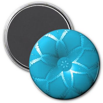 Flower Button Blue 1 Refrigerator Magnet