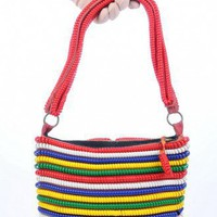 Multi-color plastic coil vintage handbag | VintageAnelia - Bags &amp; Purses on ArtFire
