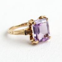 Vintage 10k Yellow Gold Art Deco Amethyst Ring - Size 5 1/2 Emerald Cut Light Purple Gemstone Jewelry