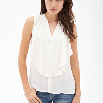 Flounced Button-Front Top