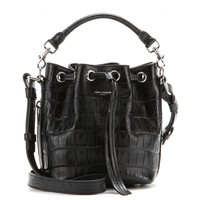 Emmanuelle Small embossed-leather bucket bag