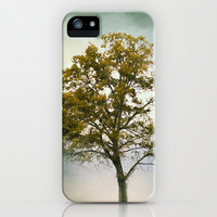 Bleached Sage Green Cotton Field Tree - Landscape  iPhone & iPod Case by Jai Johnson